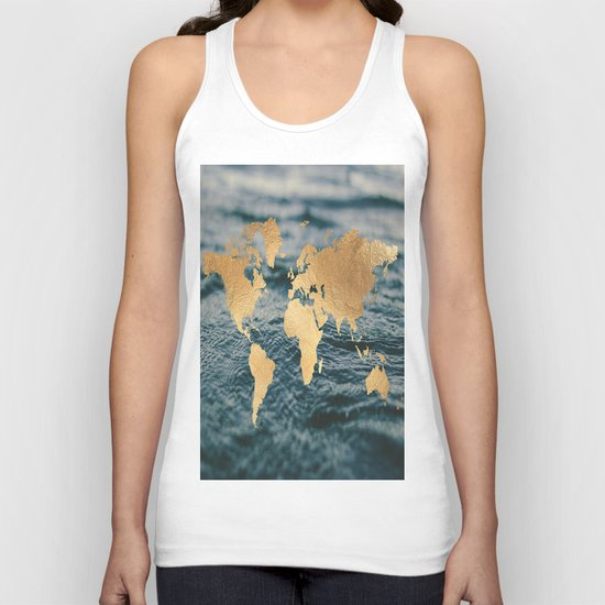 Gold Map in Water Unisex Tank Top