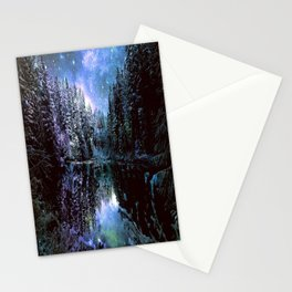 A Cold Winters Night : Violet Teal Green Winter Wonderland Stationery Cards