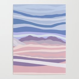 Bohemian Waves // Abstract Baby Blue Pinkish Blush Plum Purple Contemporary Light Mood Landscape  Poster