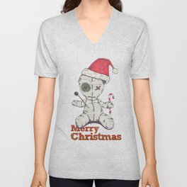 Merry Christmas Voodoo Doll Unisex V-Neck