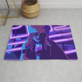 purple neon pub girl with beer Rug