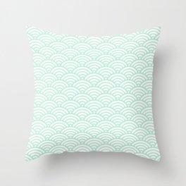Mint Green Seigaiha Sea Wave Nautical Minimalist Throw Pillow