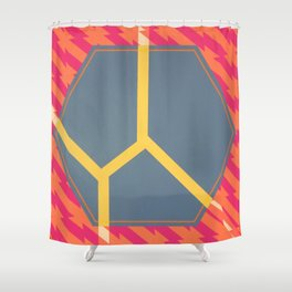 To Bee or Not - pink/orange graphic Shower Curtain