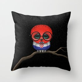 Baby Owl with Glasses and Croatian Flag Throw Pillow