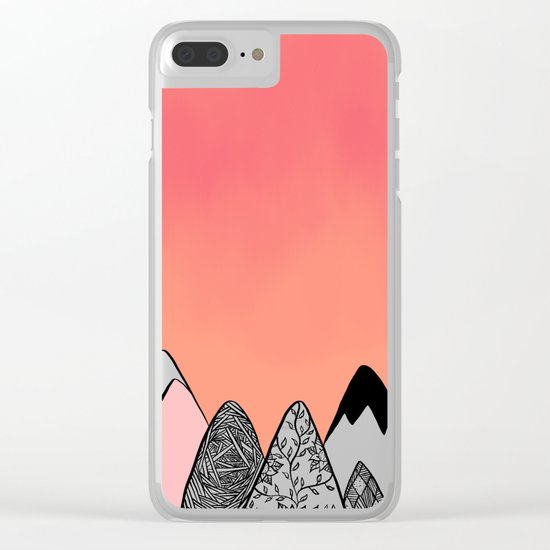 Modern abstract pink coral watercolor sky black white geometric floral mountains illustration Clear iPhone Case