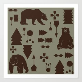 Tribal Bear Brown Art Print