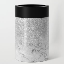 Modern faux grey silver glitter ombre white marble Can Cooler