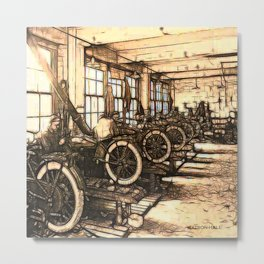 Early motorcycle factory - Circa early 1900 Metal Print