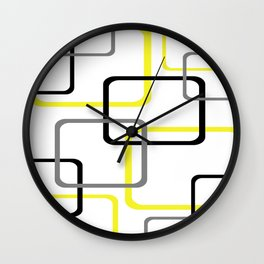 Geometric Rounded Rectangles Collage Yellow Wall Clock