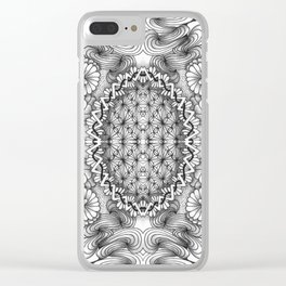 Black and White Zentangle Tile Doodle Design Clear iPhone Case