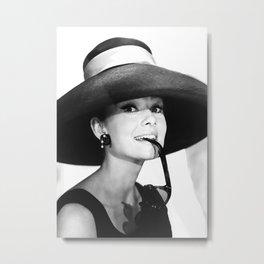 Audrey Hepburn Portrait, Black and White Vintage  Metal Print