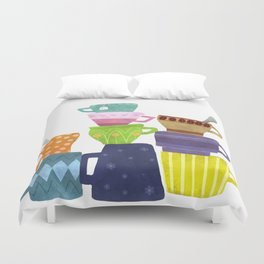 Coffee And Tea Cups And Mugs Stacked High Duvet Cover