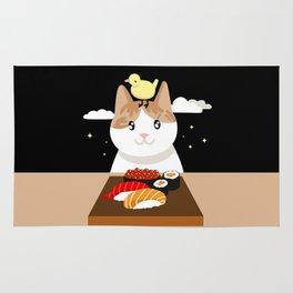 Sushi Eating Cat & Bird Rug
