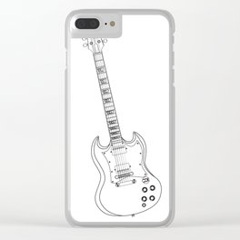 Solid Guitar Line Drawing Clear iPhone Case