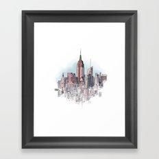 New York cityscape - Architectural illustration Framed Art Print