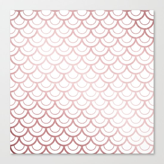 Simply Mermaid Scales in Rose Gold Sunset Canvas Print