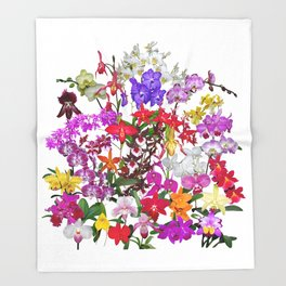 A celebration of orchids Throw Blanket