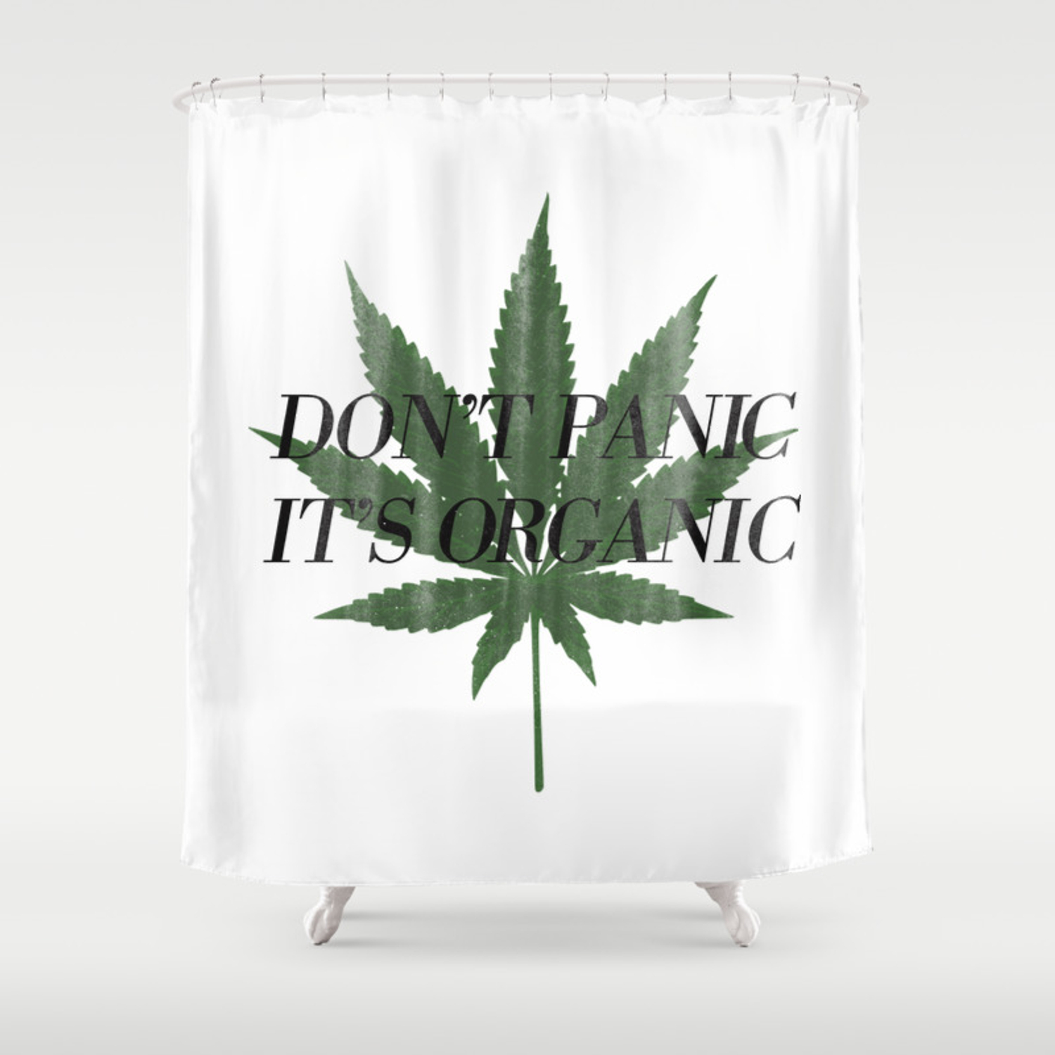 Don T Panic It S Organic Vintage Cannabis Print Shower Curtain