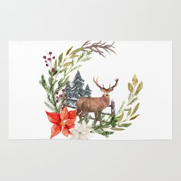 Woodland Deer Wreath Rug