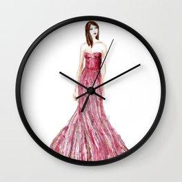 Fashion illustration raspberry dress Wall Clock