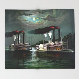 Race Of The Steamers Robert E. Lee and Natchez Throw Blanket