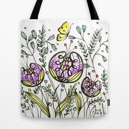 Flowers by Doodling Tote Bag