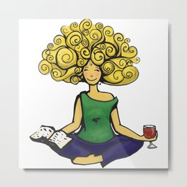 All is well when you have books, wine, and yoga Metal Print