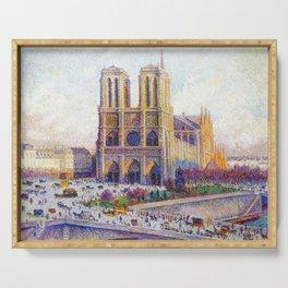 Quai Saint-Michel and Notre-Dame Paris landscape painting by Maximilien Luce Serving Tray