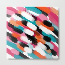 Modern abstract boho pink orange teal brushstrokes pattern Metal Print