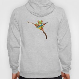 Tree Frog Playing Acoustic Guitar with Flag of Ukraine Hoody