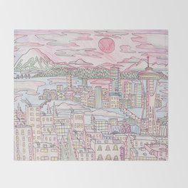 Seattle in Colored Pencil Throw Blanket