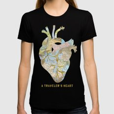 A Traveler's Heart Black LARGE Womens Fitted Tee