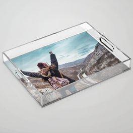 Tourist on the peak of high rocks. Big canyon on Balkan peninsula Acrylic Tray