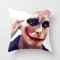 christian schloe Throw Pillows featuring Christian Bale by Pazu Cheng