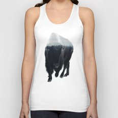 Bison In Mist Unisex Tank Top