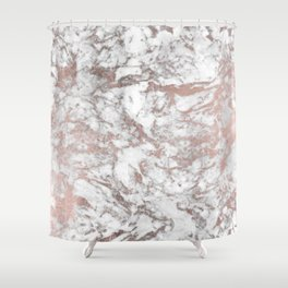 Elegant white faux rose gold modern marble Shower Curtain