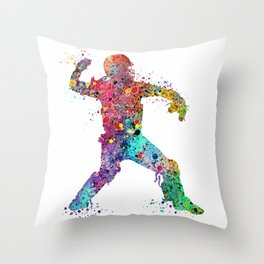 Baseball Softball Catcher 3 Art Sports Poster Throw Pillow