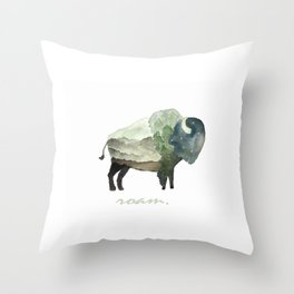 Buffalo Bison / Roam Wanderlust Adventure Travel / Rustic Woodland / Nursery / Gift / Watercolor Throw Pillow