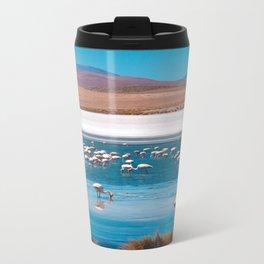 Flamingos in Bolivian beach Travel Mug