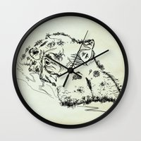 hippo Wall Clocks featuring Hippo by Julia Kisselmann