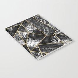 Black White Agate Black Gold Geometric Triangles Notebook