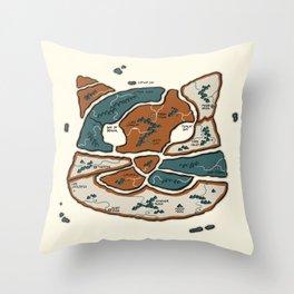 Cat Map Throw Pillow