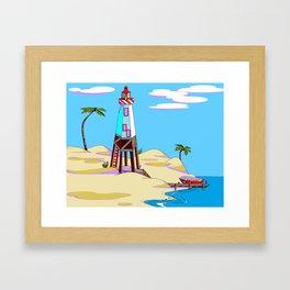A Lighthouse on the Lazy, Sunny Beach with Palm Trees Framed Art Print