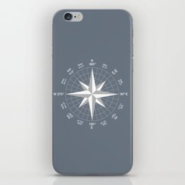 Compass in White on Slate Grey color iPhone Skin