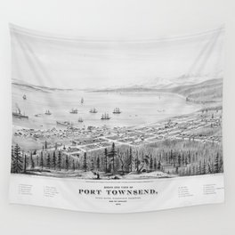Vintage Pictorial Map of Port Townsend WA (1878) Wall Tapestry