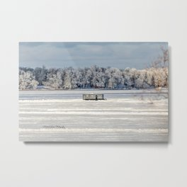 Afternoon Ice Fishing Metal Print