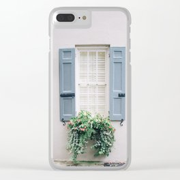 Charleston Blue Shutters and Window Box Clear iPhone Case