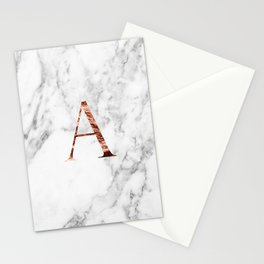 Monogram rose gold marble A Stationery Cards