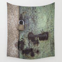 door Wall Tapestries featuring Rusty door by Maria Heyens