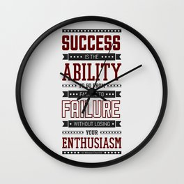 Lab No.4 Success is the ability Sir Winston Churchill Inspirational Quotes Wall Clock